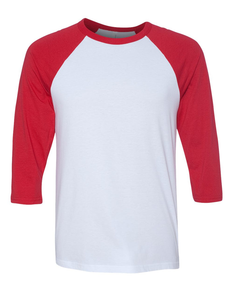 Adult 3/4 Sleeve Raglan: White/Red