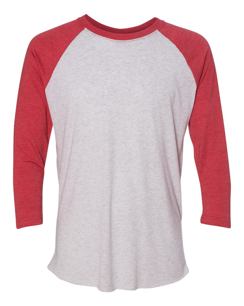 Adult 3/4 Sleeve Raglan: Heather White/Red