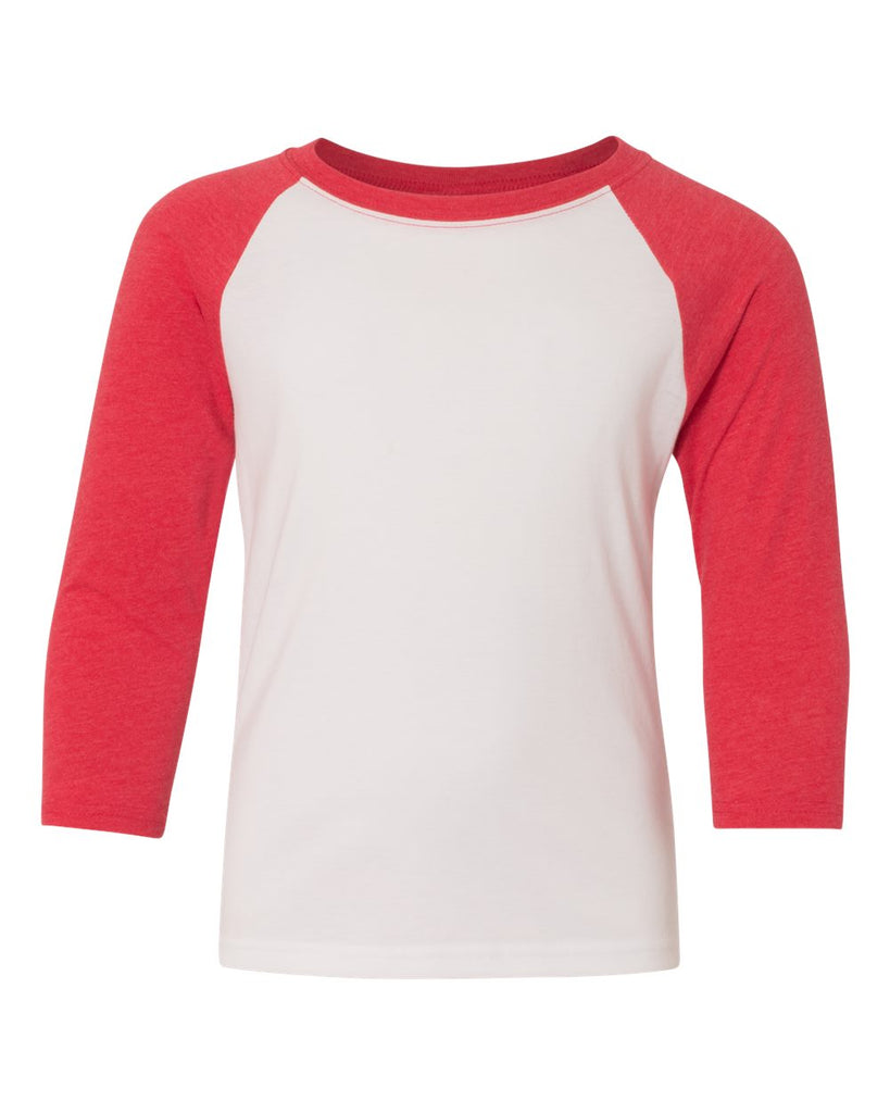 Youth 3/4 Sleeve Raglan: White/Red