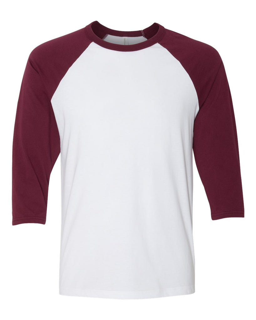 Adult 3/4 Sleeve Raglan: White/Maroon