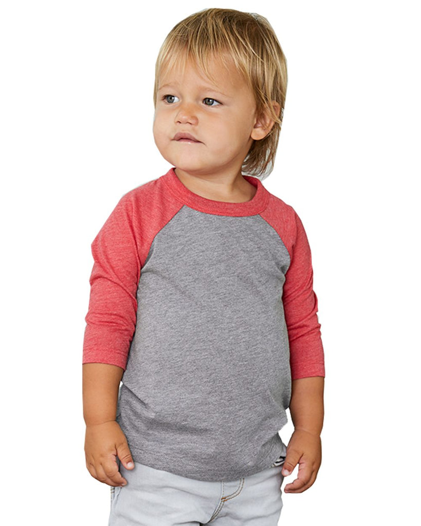 Toddler 3/4 Sleeve Raglan: Grey/Red Triblend