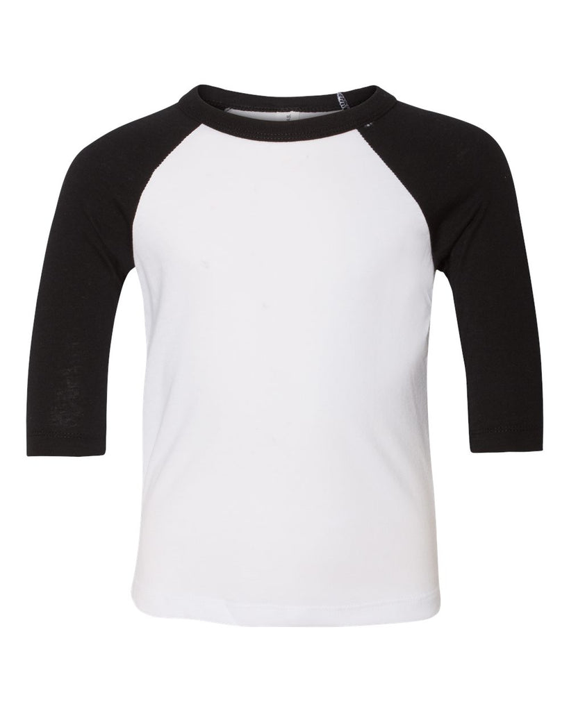 Toddler 3/4 Sleeve Raglan: White/Black