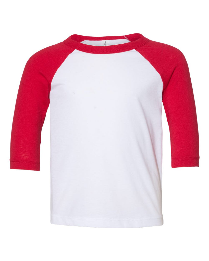 Toddler 3/4 Sleeve Raglan: White/Red