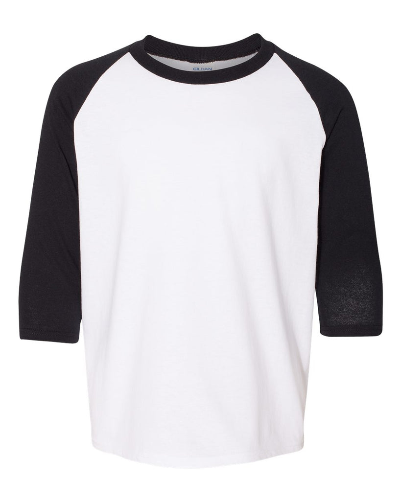 Youth 3/4 Sleeve Raglan: White/Black