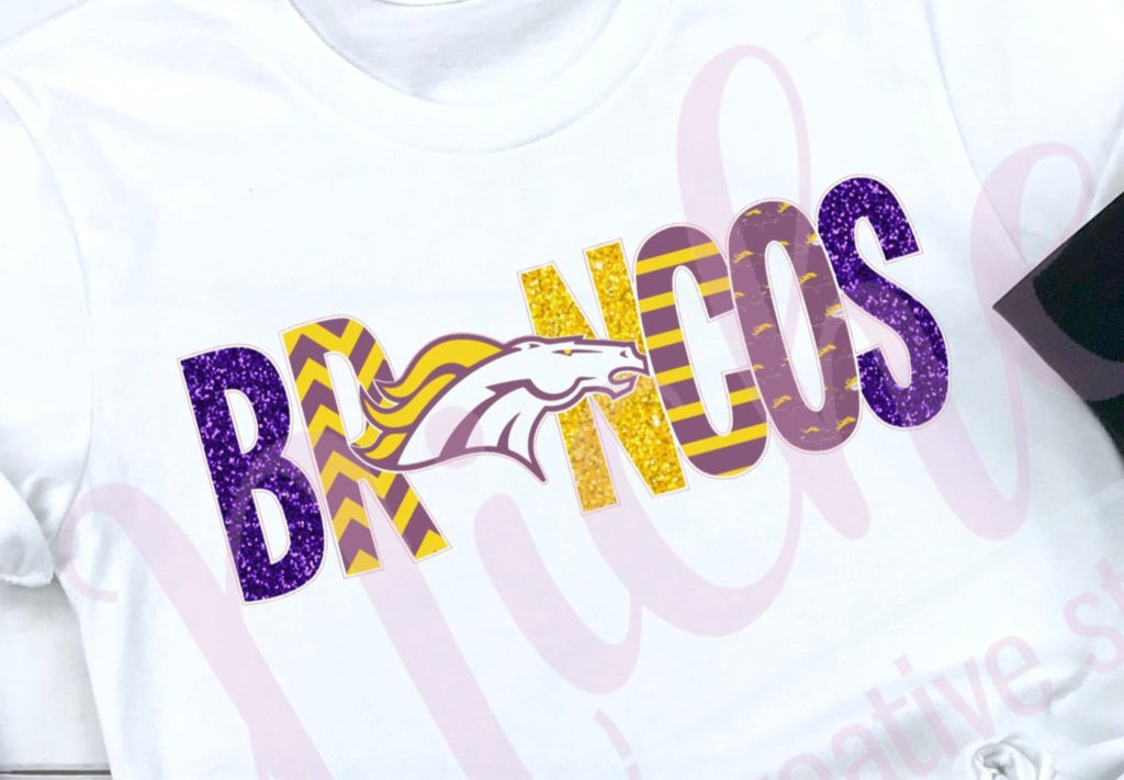 * Broncos Glitter Lettering Decal