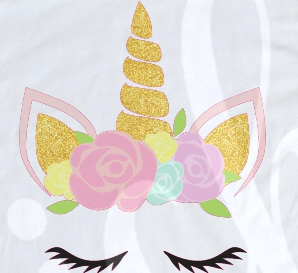 *Floral Gold Glitter Unicorn Decal