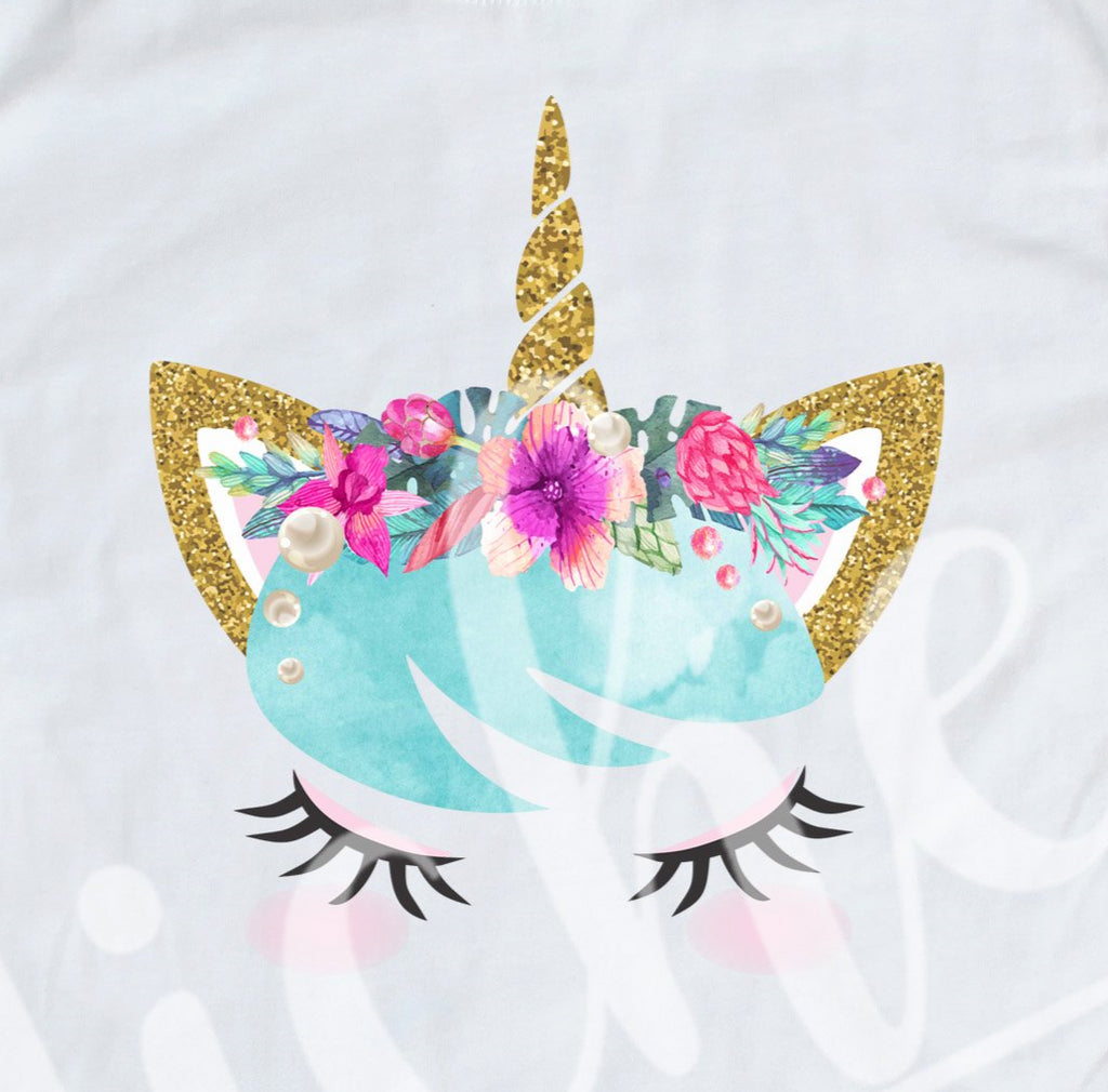 *Floral Watercolor Glass Unicorn Decal
