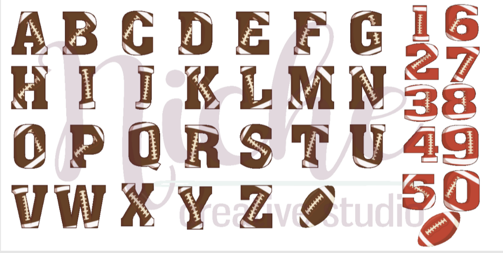 "*2"" Football Letter Decal"