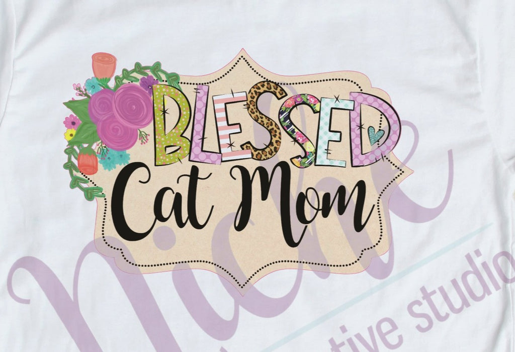 * Framed Blessed Cat Mom Decal