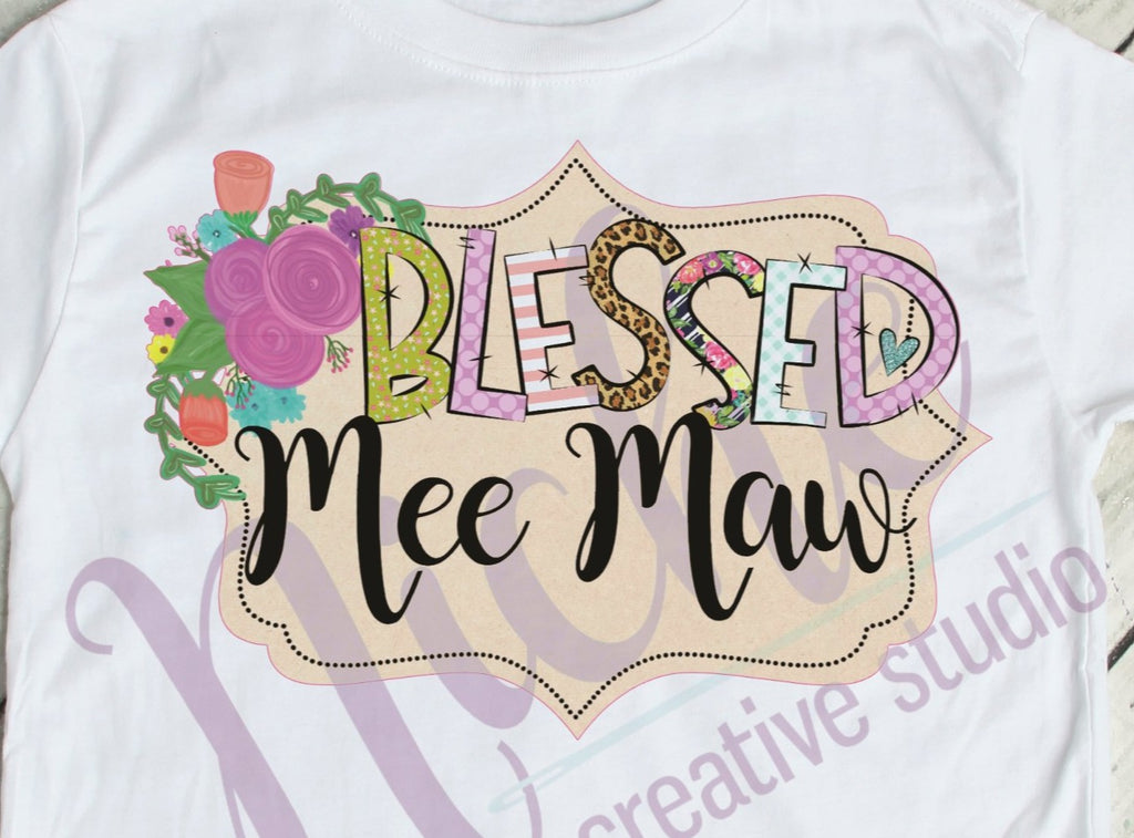 * Framed Blessed Mee Maw Decal