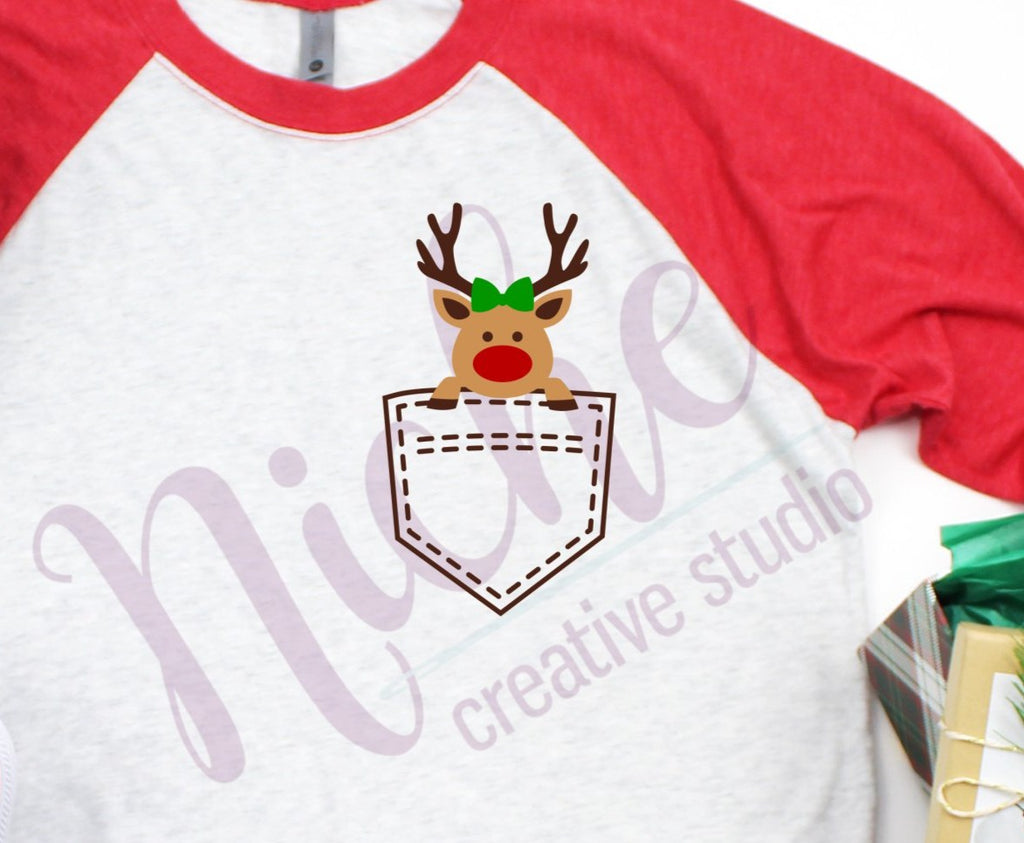 ** Girl Reindeer Pocket Screen Decal