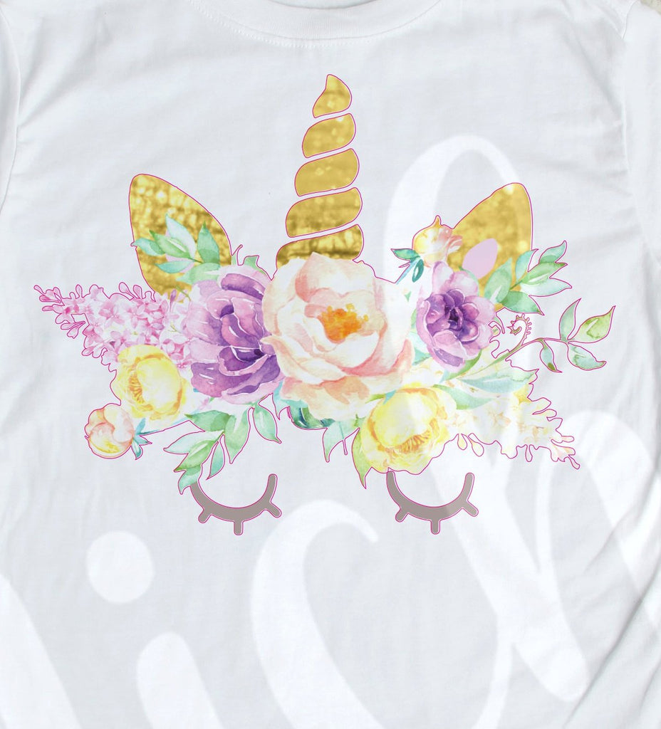 *Floral Watercolor Unicorn Decal