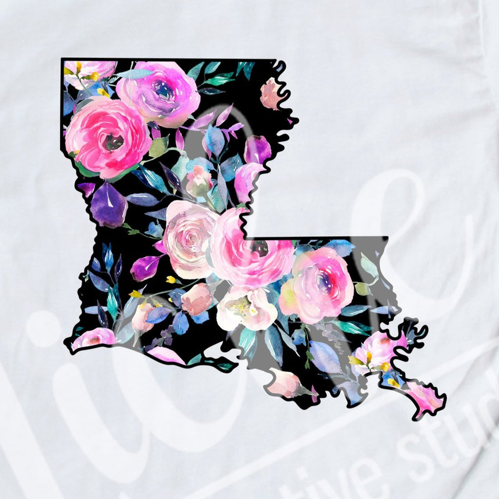 * Louisiana Black Floral Decal