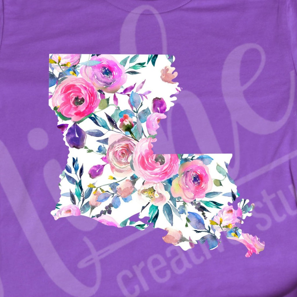 * Louisiana White Floral Decal