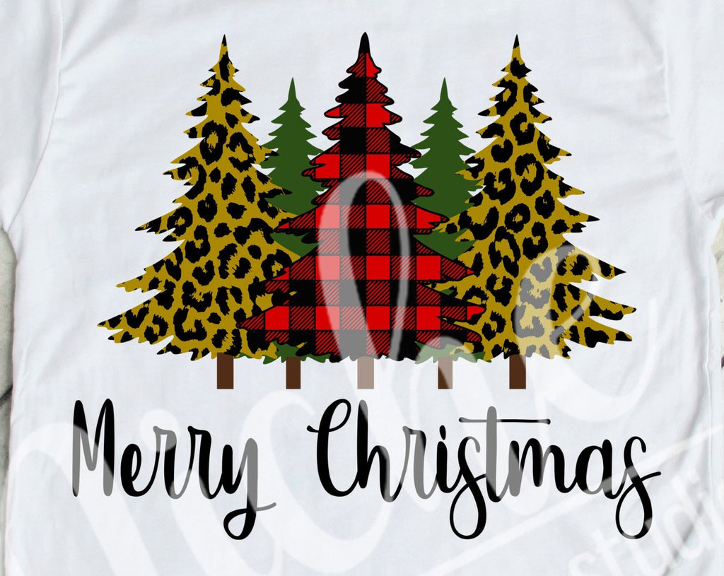 *$ Merry Christmas 5 Tree Collage Decal