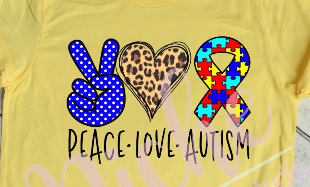 * Peace Love Autism Screen Decal