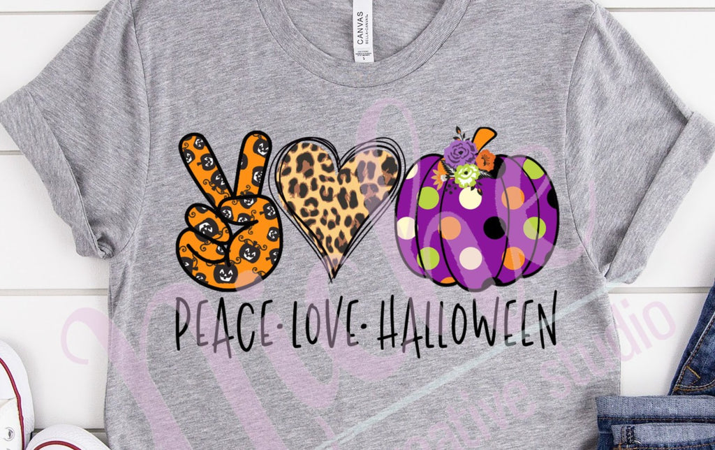* Peace Love Halloween Screen Decal