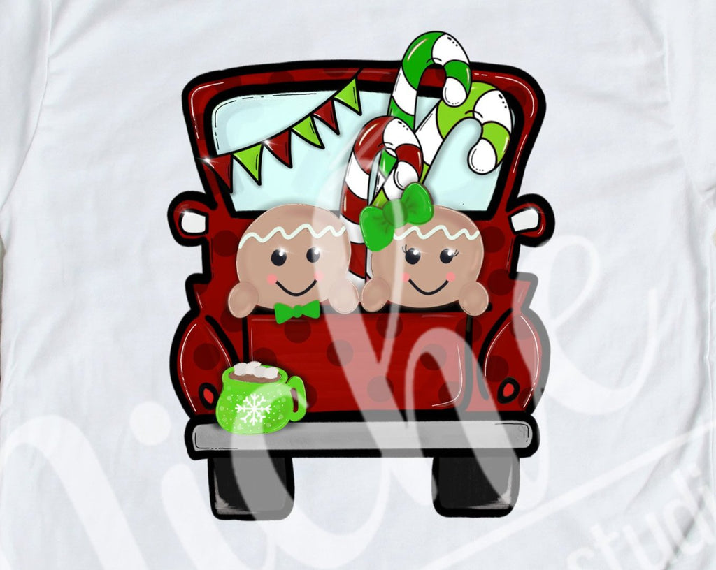 *$ Red Gingerbread Truck Decal