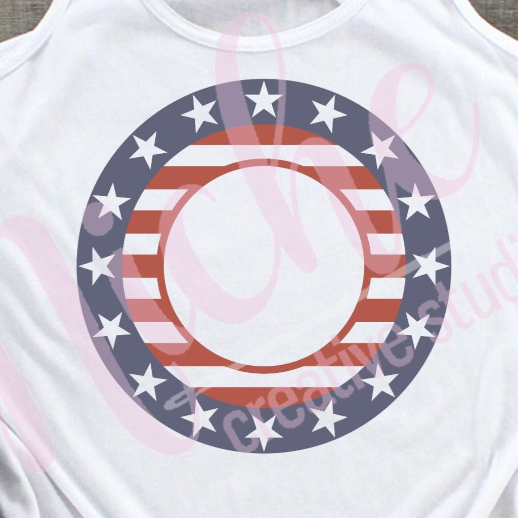 * Stars and Stripes Circle Decal