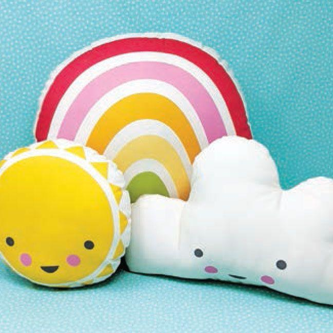 Fabric - Panel Sunshine Rainbow & Cloud pillows