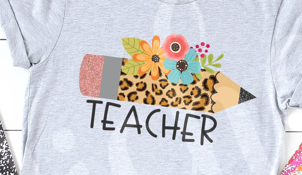 * Teacher Leopard Pencil Decal