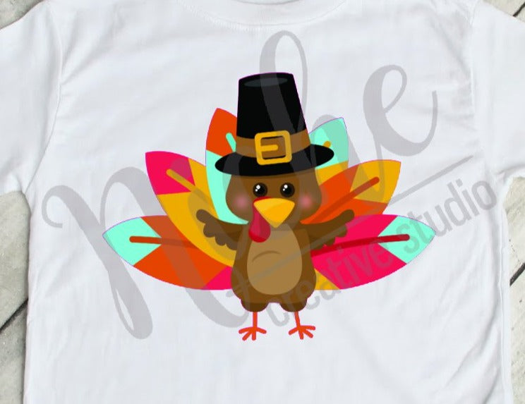 * Thanksgiving Turkey Pilgrim with Tailfeathers  Decal