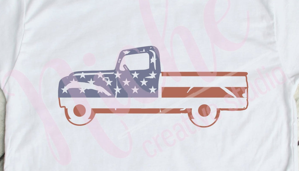 * Truck Flag Distressed Decal