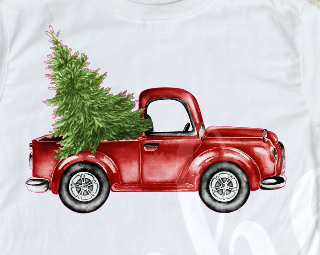 *& Red Truck with Tree Decal