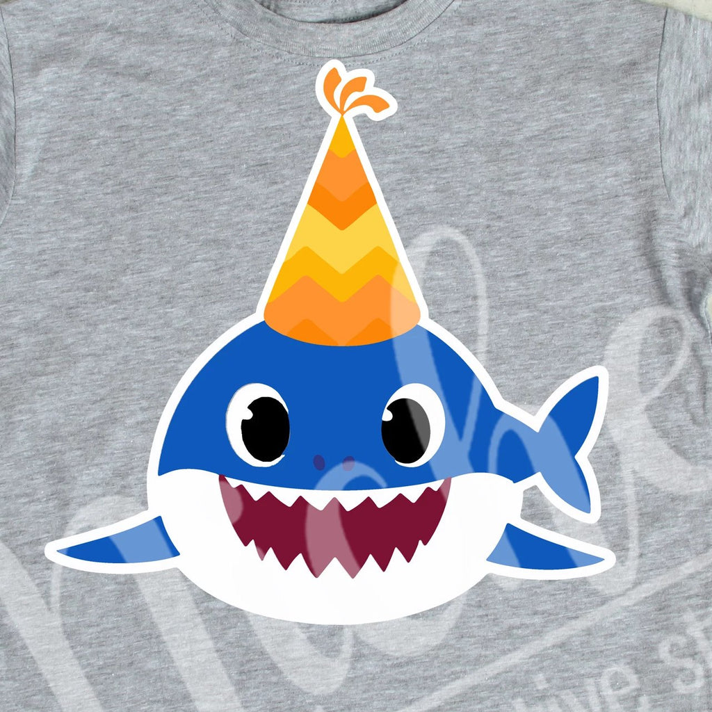 *Birthday Blue Front Facing Shark Decal