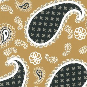 Fabric - Black and Gold Paisley