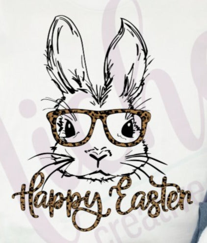 * Bunny Glasses Leopard Happy Easter Screen Decal