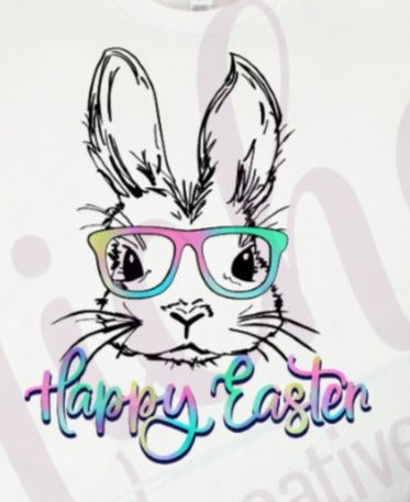 * Bunny Glasses Watercolor Happy Easter Screen Decal