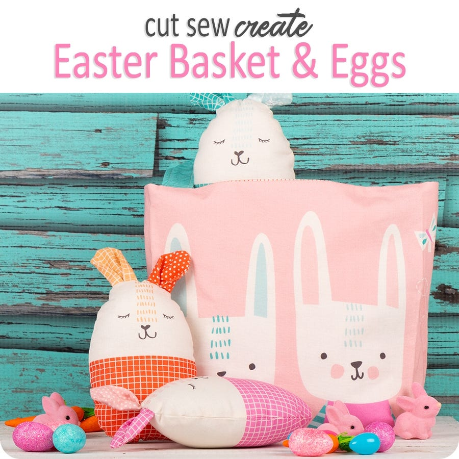 Fabric - Panel Easter Basket & Eggs