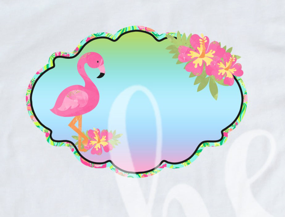 *Flamingo Frame Decal