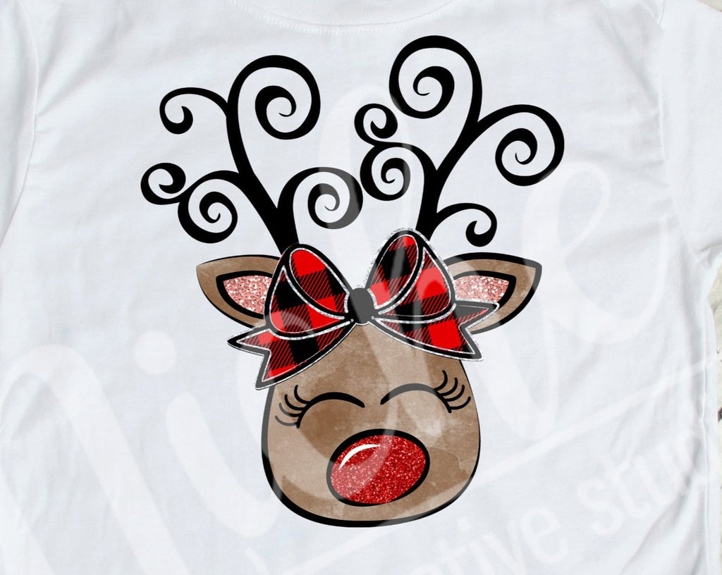 *$Girl Reindeer Swirl Decal