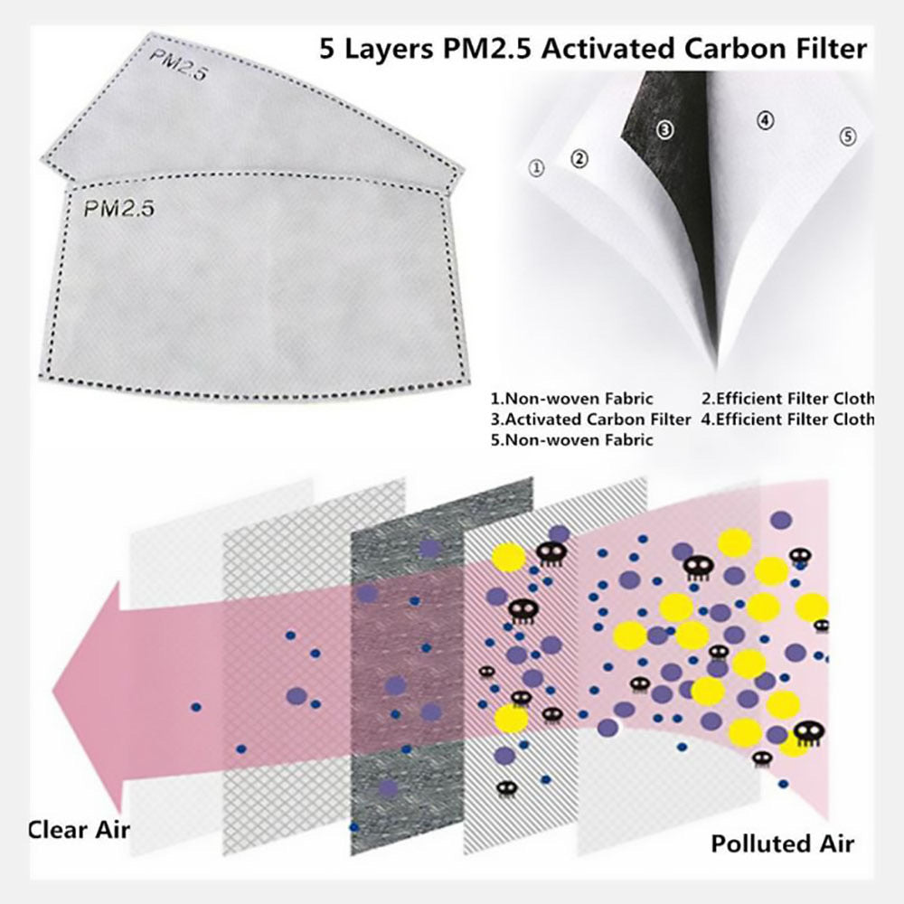 Activated Carbon Mask Filters PM 2.5 5-Ply