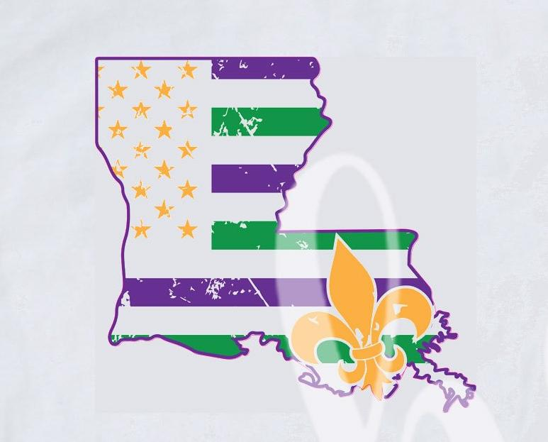 *Louisiana Mardi Gras Flag Decal