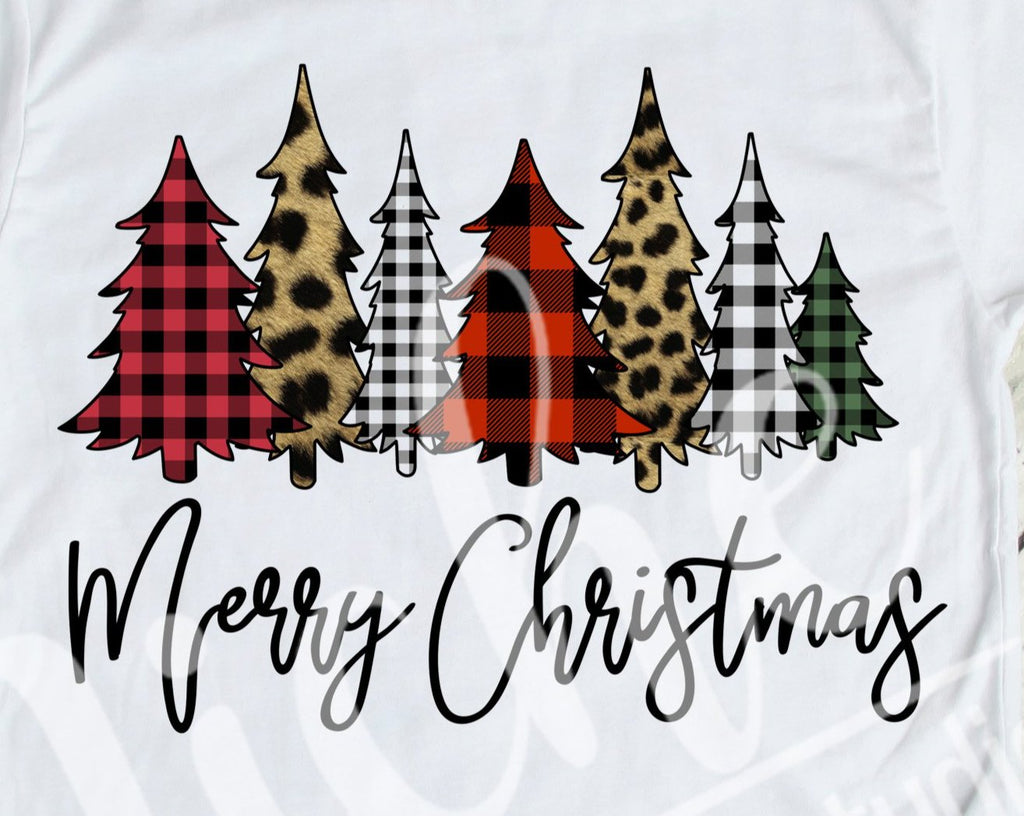 * Merry Christmas 7 Tree Collage Decal