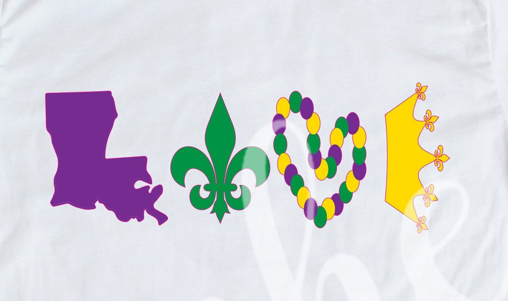 *LOVE Mardi Gras Decal