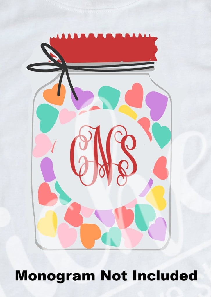 *Valentine Monogram Jar Decal