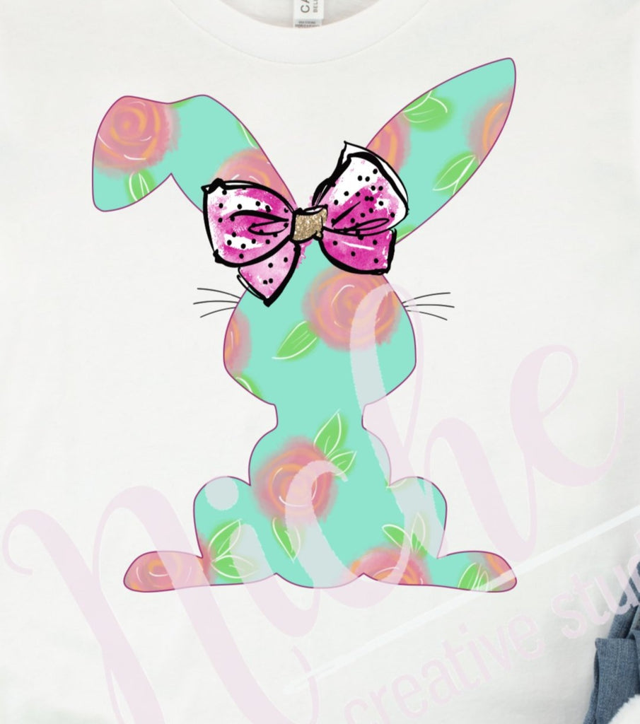 * Mint Floral Bunny Decal