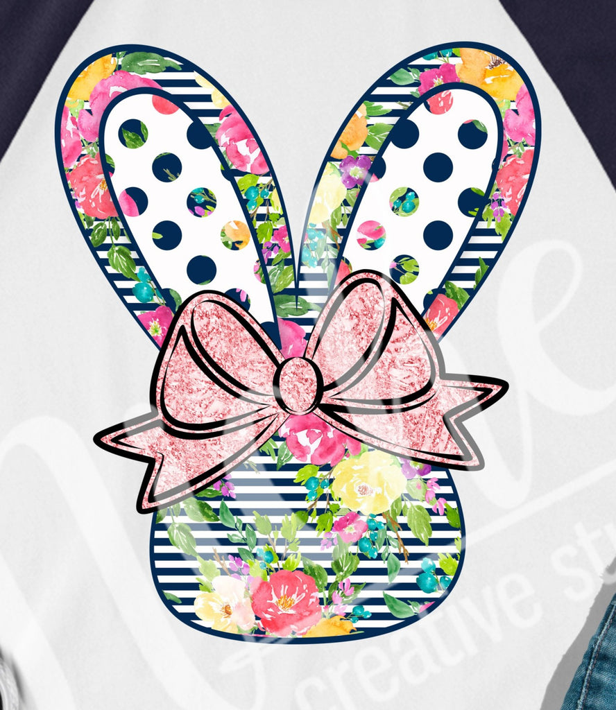 * Navy Bow Bunny Decal