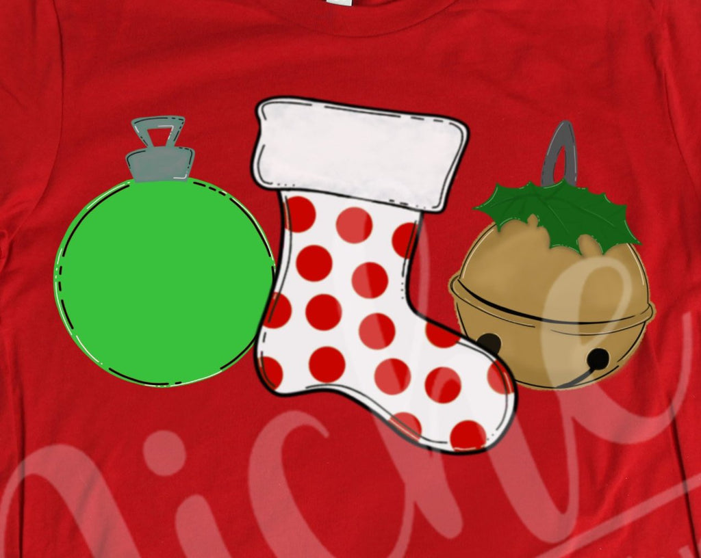 *Red Stocking Trio Decal