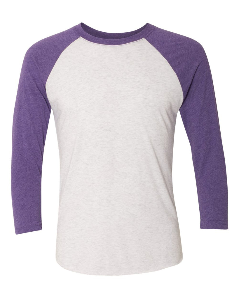 Adult 3/4 Sleeve Raglan: H. Purple/Light Grey