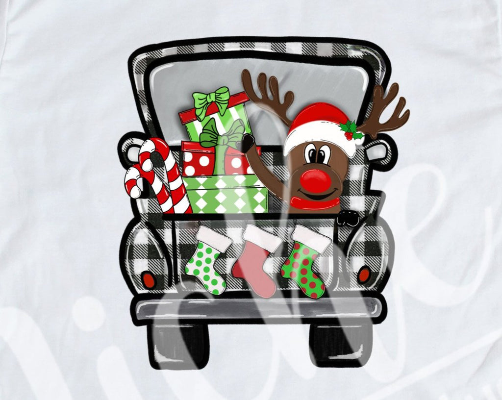 *$ Reindeer Buffalo Plaid Truck Decal