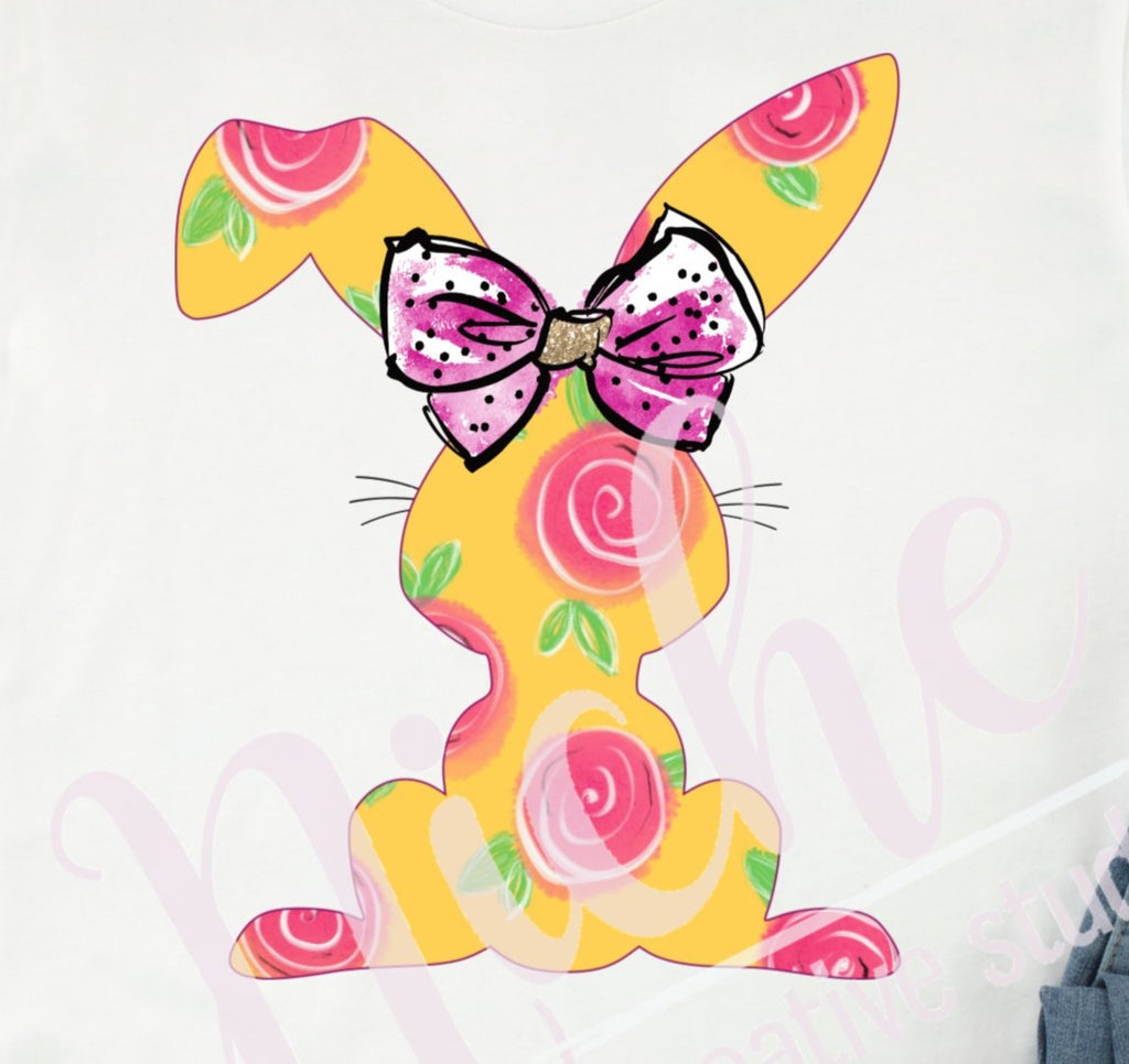 * Yellow Floral Bunny Decal