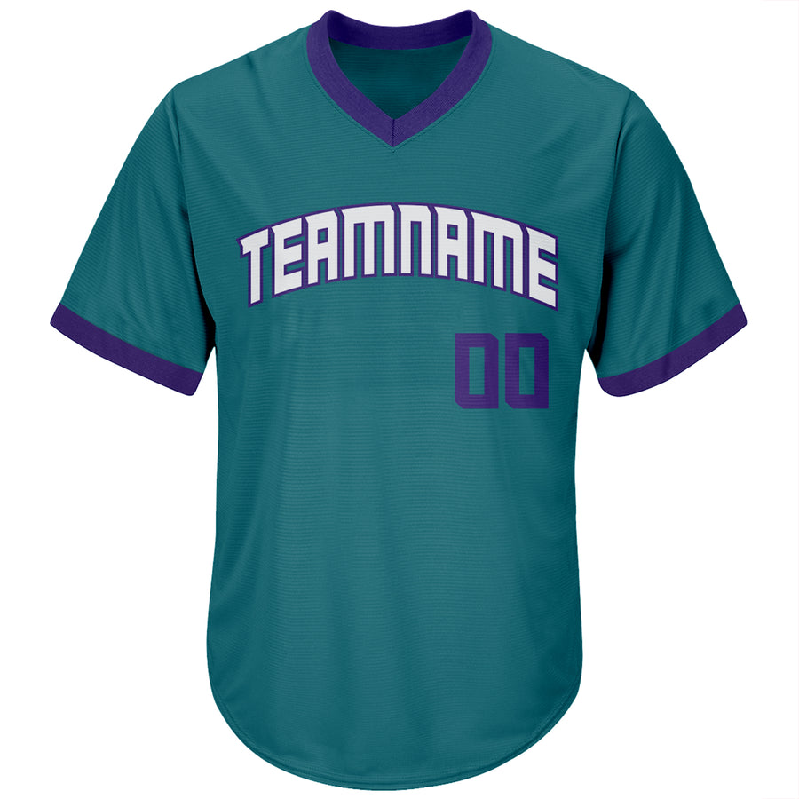 Custom Aqua Purple-White Authentic Throwback Rib-Knit Baseball Jersey Shirt
