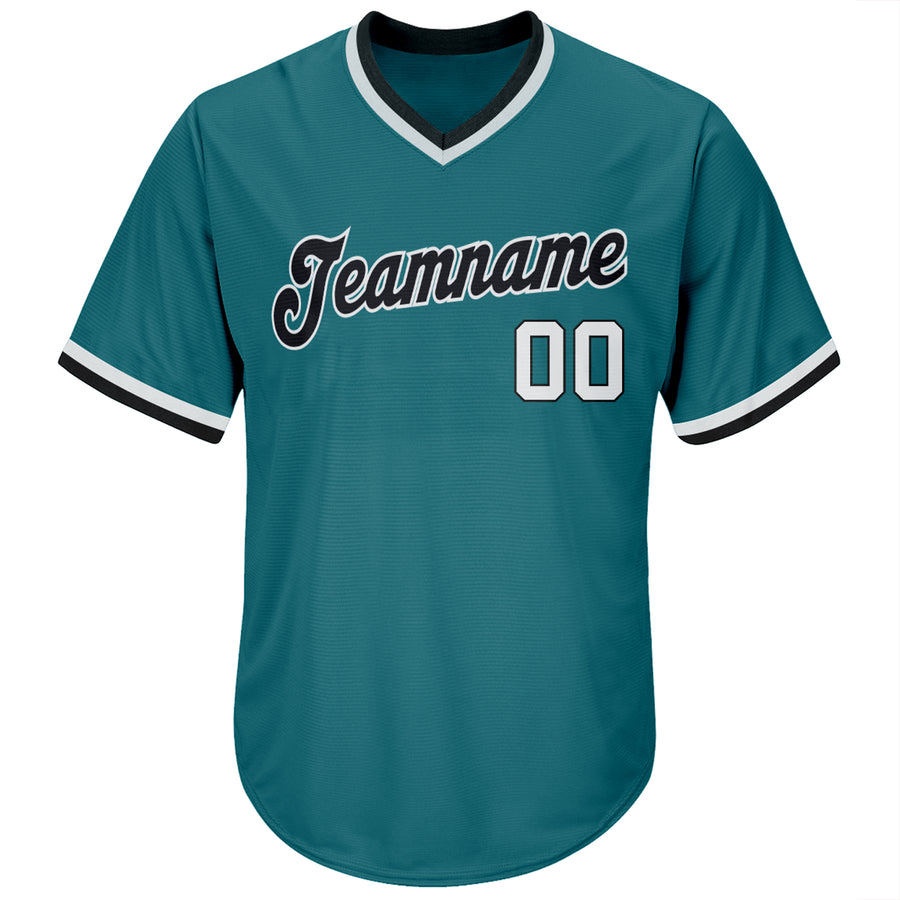 Custom Aqua White-Black Authentic Throwback Rib-Knit Baseball Jersey Shirt