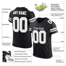 Load image into Gallery viewer, Custom Black White-Vegas Gold Mesh Authentic Football Jersey
