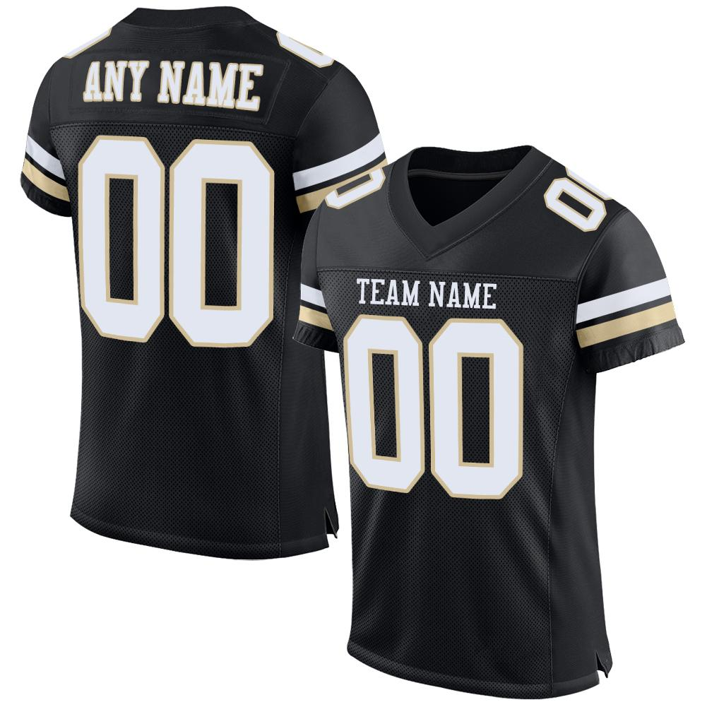 Custom Black White-Vegas Gold Mesh Authentic Football Jersey